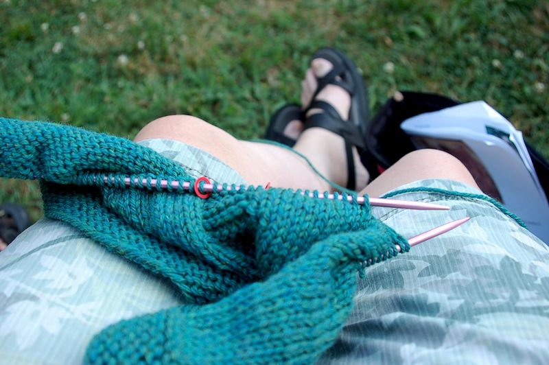 Knitting in the park