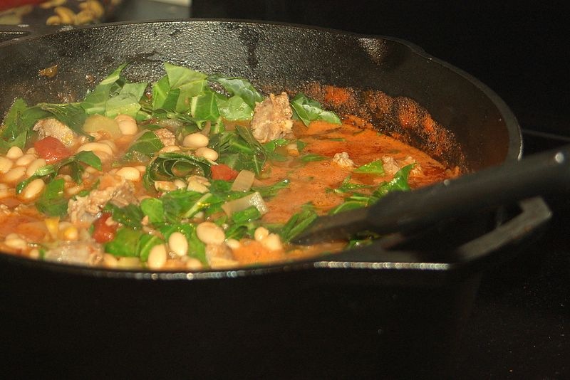 White beans with collards and sausage 2