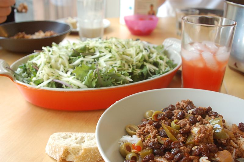 Picadillo and kale zucchini salad