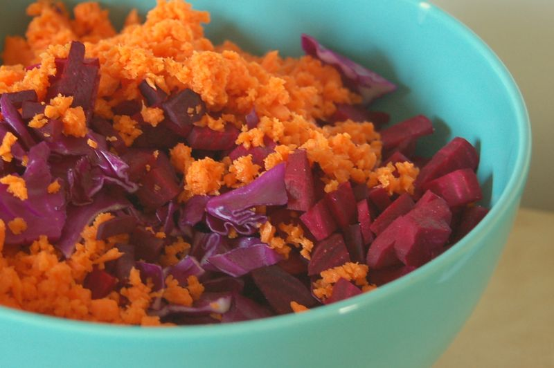 Carrot, beet & red cabbage salad