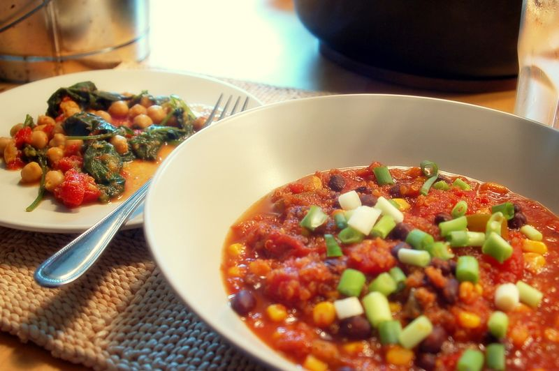 Quinoa chili and curried chickpeas 2