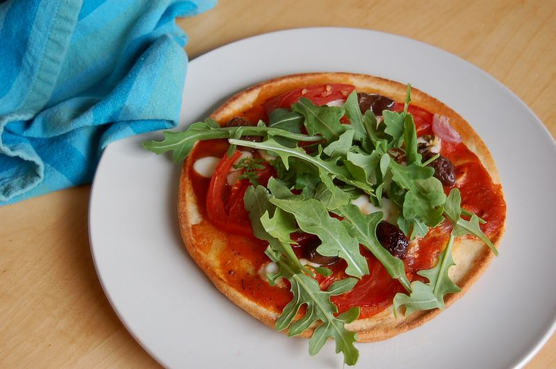 Naan pizza with arugula